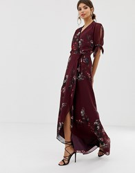 Hope And Ivy Floral Print Wrap Dress Purple