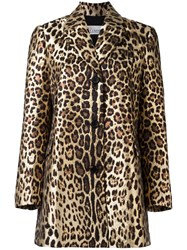Red Valentino Leopard Print Midi Coat Black