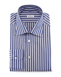 Kiton Micro Houndstooth Dress Shirt Blue