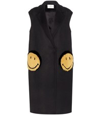 Anya Hindmarch Smiley Oversized Fur Trimmed Coat Blue