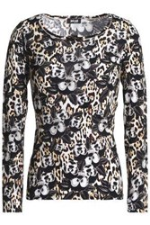 Just Cavalli Printed Stretch Jersey Top Black