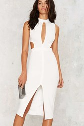 Nasty Gal Side By Side Cutout Midi Dress White
