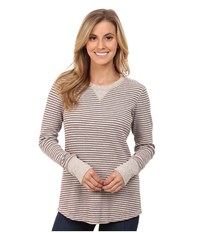 Carhartt Hayward T Shirt Striped Top Light Shale Brown Heather Women's Long Sleeve Pullover Gray