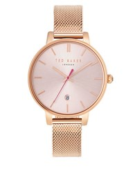 Ted Baker Kate Round Stainless Steel And Rose Goldplated Analog Mesh Bracelet Watch