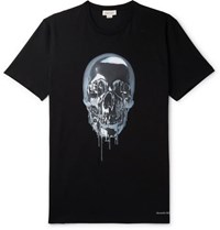 Alexander Mcqueen Printed Cotton Jersey T Shirt Black