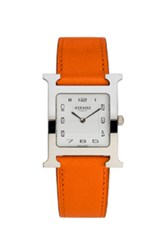 Hermes Heure Hour Mm In Orange Metallics Orange Metallics