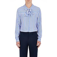 Gucci Men's Striped Charmeuse Tie Neck Blouse No Color