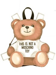 Moschino Mini Toy Bear Paper Cut Out Backpack Nude Neutrals
