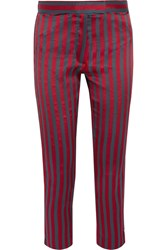 Ann Demeulemeester Cropped Striped Satin And Twill Slim Leg Pants Red