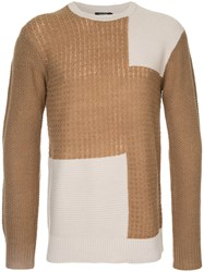 Guild Prime Panelled Crew Neck Jumper Acrylic Nylon Wool Brown