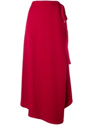Y Project Asymmetric Wrap Skirt Red