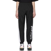 Palm Angels Black And White Over Logo Lounge Pants