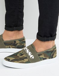 Ellesse Canvas Plimsolls With Strap In Camo Green