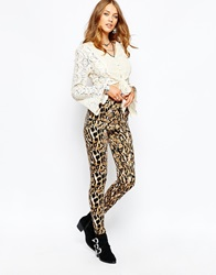 Reclaimed Vintage High Rise 90S' Spray On Skinny Trouser In Python Print Brown