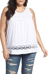 Caslonr Plus Size Women's Caslon 'Boho' Lace Trim Cotton And Modal Tank White