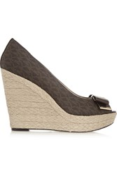Michael Michael Kors Textured Leather And Woven Straw Wedge Pumps Brown