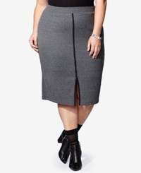 Mblm By Tess Holliday Trendy Plus Size Ribbed Pencil Skirt Dark Heather Grey
