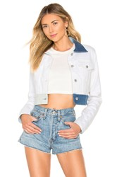 Hudson Jeans Cropped Trucker Jacket White Ice