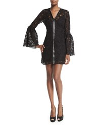 Mcq By Alexander Mcqueen Mcq Alexander Mcqueen Long Sleeve Lace Zip Front Mini Dress Black Size 40