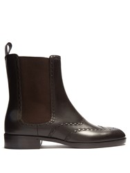 Bottega Veneta Brogue Detail Leather Chelsea Ankle Boot Brown