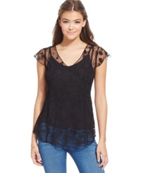 Jessica Simpson Kiren Beaded Embroidered Sheer Top Black