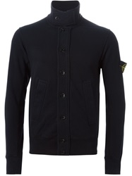 Stone Island High Collar Buttoned Cardigan Blue