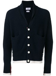 Thom Browne Tipping Stripe Chunky Cardigan Blue