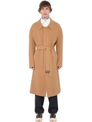 J.W.Anderson Oversize Cashmere And Cotton Coat W Belt Camel