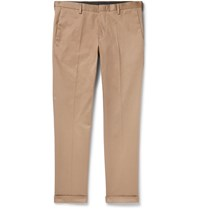 Paul Smith Slim Fit Tapered Cotton Blend Twill Trousers Brown