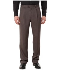 Perry Ellis Classic Fit Double Pleat Micro Melange Pant Maple Brown Men's Dress Pants