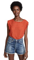 Three Dots Eyelet Flutter Sleeve Top Red Clay