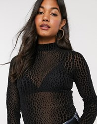 B.Young Snake Embossed High Neck Top Black