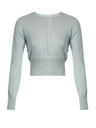 The Vampire's Wife Round Neck Silk And Cashmere Blend Cardigan Light Blue