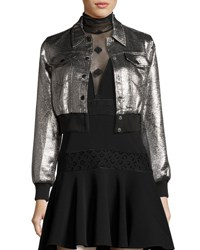 Cinq A Sept Kane Metallic Cropped Jacket Silver