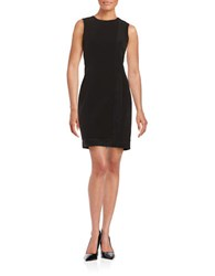 Calvin Klein Faux Suede Trimmed Sheath Dress Black