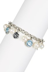 Sterling Silver Roman Glass And 9.5 10Mm Cultured Freshwater Pearl Charm Bracelet Multiple Lengths