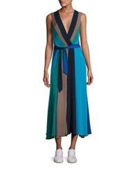 Diane Von Furstenberg Penelope Colorblock Wrap Dress Deep Night Olive Sea Green Neptune Blue