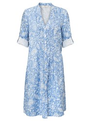 East Linen Antoinette Pintuck Dress Cornflower
