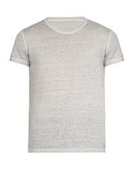 120 Lino Linen Crew Neck T Shirt Grey