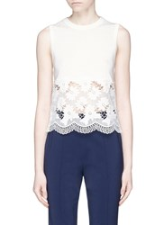 Alice Olivia 'Somer' Guipure Lace Panel Sleeveless Knit Top White