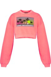 Alexander Wang Cropped Intarsia French Cotton Terry Sweatshirt Coral