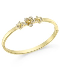 Charter Club Pave Flower Hinged Bangle Bracelet Only At Macy's Gold