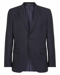 Jaeger Men's Wool Slim Mouline Super 100S Jacket Blue