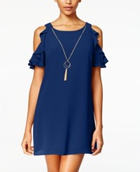 Amy Byer Bcx Juniors' Cold Shoulder Ruffled Shift Dress With Necklace Navy