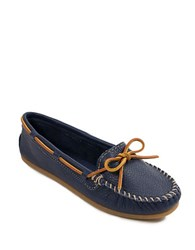 Minnetonka Leather Boat Moc Navy Blue