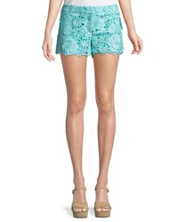 Milly Dickies Floral Crochet Shorts Blue