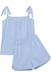 Iris And Ink Val Bow Detailed Cotton Poplin Gingham Pajama Set Light Blue
