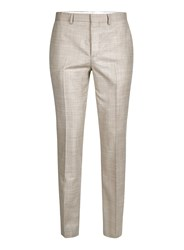 Topman Brown Stone Crosshatch Wool Skinny Fit Suit Pants
