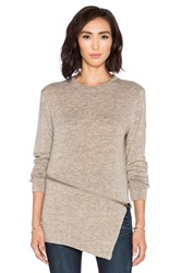 Shades Of Grey Asymmetric Zipper Sweater Beige