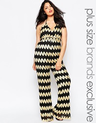 Truly You 70S Zig Zag Printed Jumpsuit Blackgold